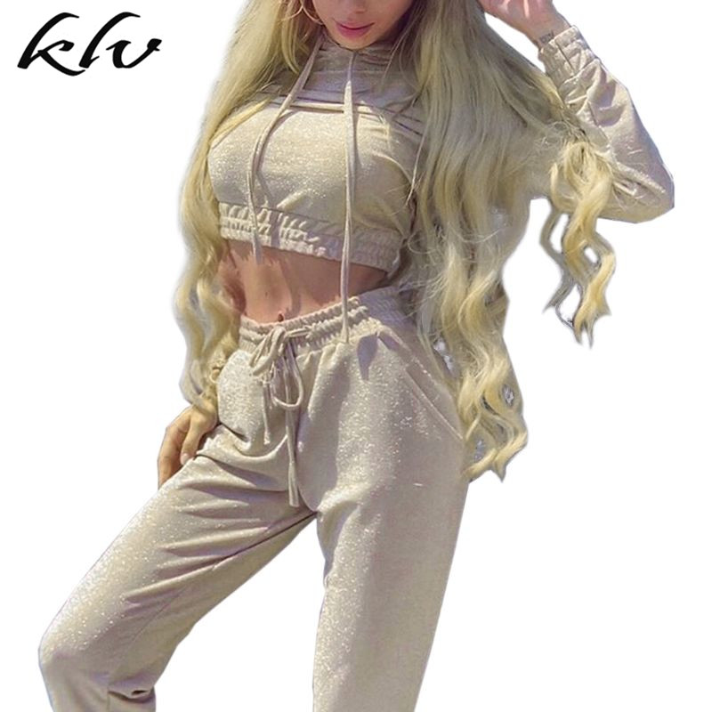 Women Chic Shiny Sequins Tracksuit Hooded Sweatshirt + Harem Pants With Pockets Trousers Drawstring Hoodies High Waist