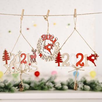 2021 Christmas Pendants Xmas New Year Elk Wooden Craft Pendants Christmas Tree Hang Pendant Ornament Natal Santa Claus Kids Gift christmas xmas elk display window new year ornament simulation deer decorations reindeer simulated toy kids gift