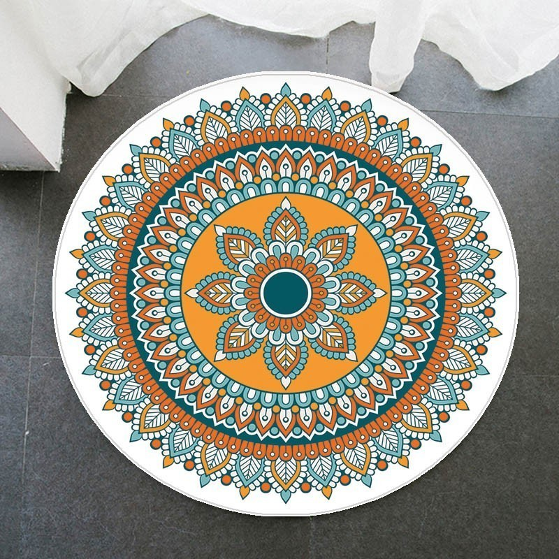 100cm Round Carpet Mandala Home Decorative Parlor Bedroom Area Rugs, Thicken Flannel Anti-slip Water Absorb, 3 Sizes Floor Mat