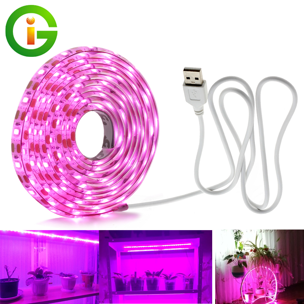 USB Phytolamps for Plants 5V LED Grow Light Strip 2835 Chip 1m 2m 3m LED Phyto Tape for Hydroponic Greenhouse Seedlings Growth