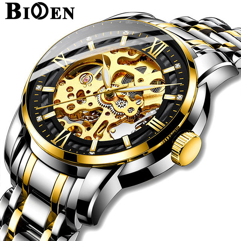 Watch Men Skeleton Automatic Mechanical Watch Gold Skeleton Vintage Man Watch Mens Biden Watch Top Brand Luxury