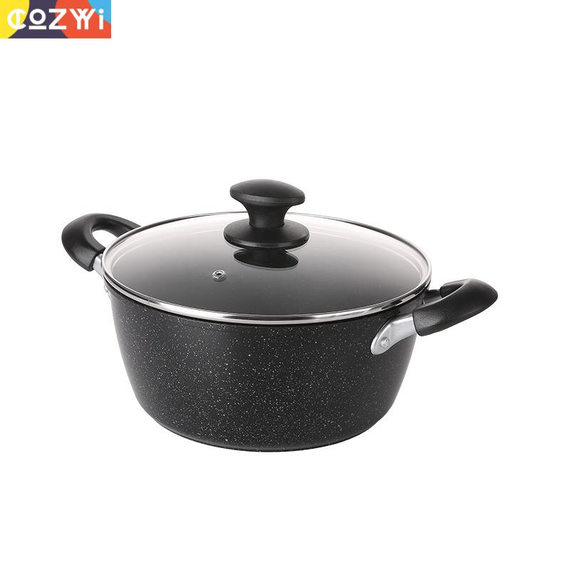 24cm Outdoor Sauce Pan Double Side Ears Non Stick Household For Soup Frying Food Gas Induction Cooker Sauce Pan