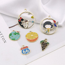 2 pcs 2019 new design fashion alloy drip little girl globe cartoon pendant fruit earrings for women diy jewelry accessories