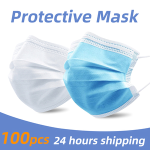 Image 1 - PM2.5 3 layer Filter Masks Anti Droplet Dust Foul Smell Safety Protective Disposable Mouth Face Mask 50pcs Breathable respirator