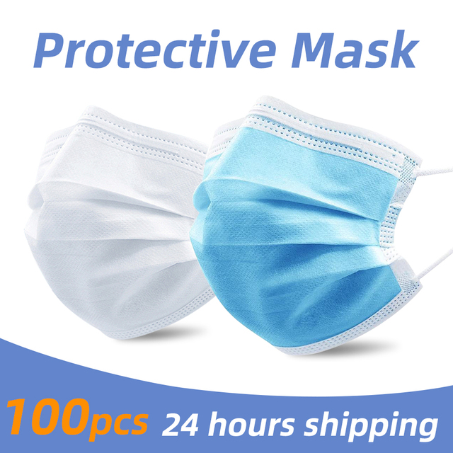 PM2.5 3 layer Filter Masks Anti Droplet Dust Foul Smell Safety Protective Disposable Mouth Face Mask 50pcs Breathable respirator