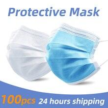 PM2.5 3 طبقة تصفية أقنعة مكافحة قطرات الغبار كريهة رائحة السلامة واقية المتاح الفم قناع الوجه 50 قطعة تنفس التنفس