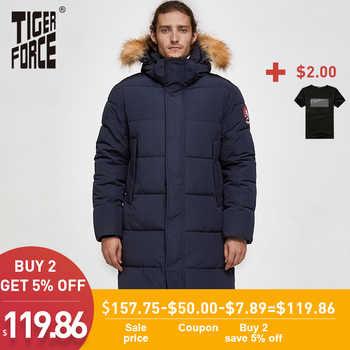 TIGER FORCE Men Parka Winter Jacket Men Long Alaska Jacket Coat Raccoon Fur Hood Winter Male Jacket Thick Waterproof Outwear - DISCOUNT ITEM  48% OFF All Category