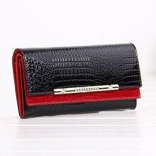 Ladies wallet card bag long leather paint ladies cowhide