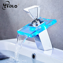 цены Led Light Basin Faucet Bathroom Waterfall Taps Temperature Change Color Single Hole Deck Mounted Water Sink Tap Bathroom Faucet