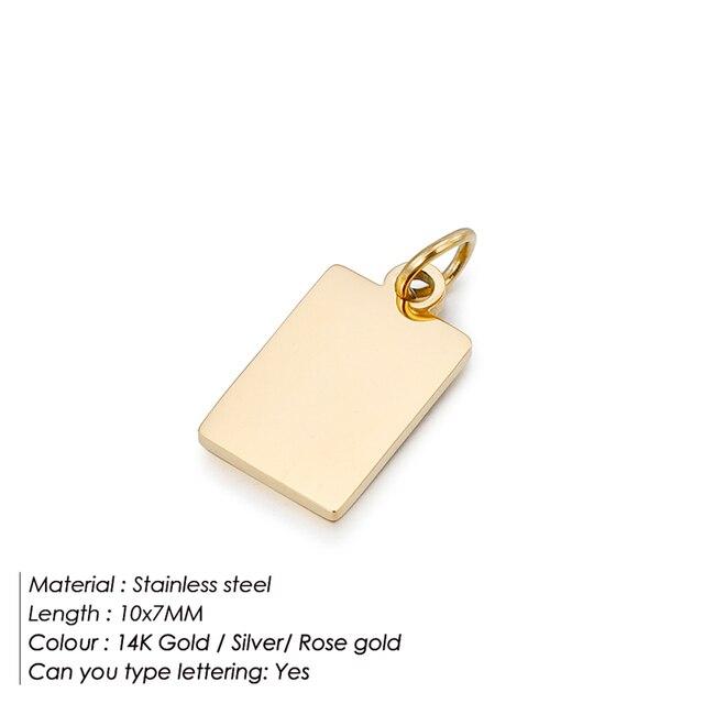 Бирка с логотипом из нержавеющей стали 316L, Простой Шарм для ожерелья и браслета