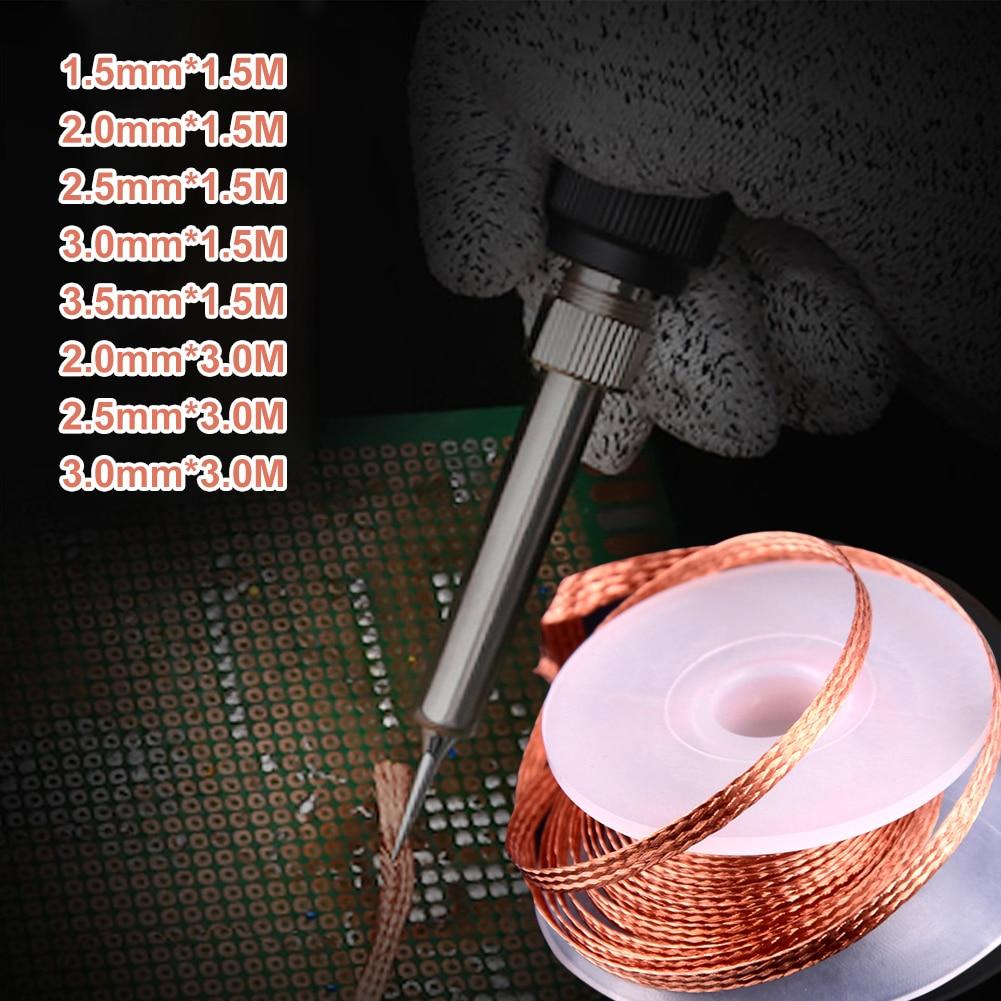 2.0mm/2.5mm/3.5mm 3M dessouder tresse soudure dissolvant mèche fil faible résidu étain bande pour soudure électrique et bricolage