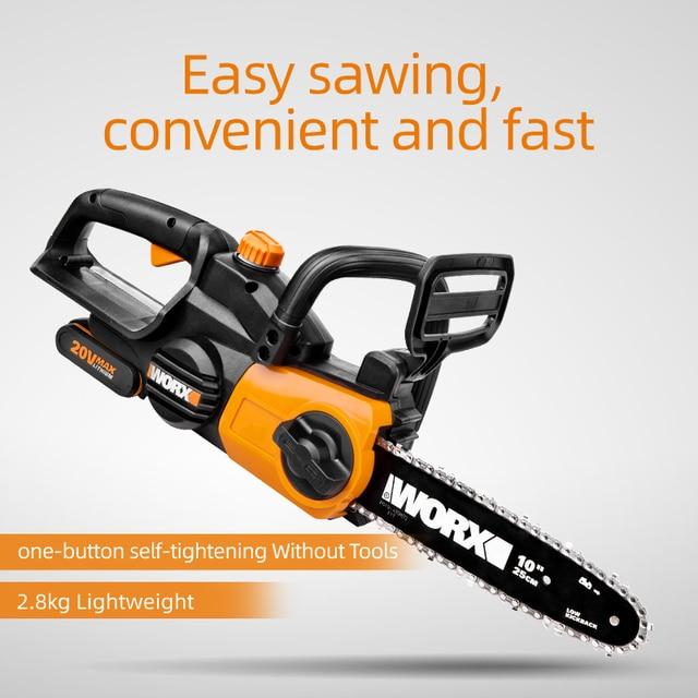 WORX 20V Chain Saw WG322E.1 10inch Electric Chainsaw Bracket Adjustable Garden Power Tool