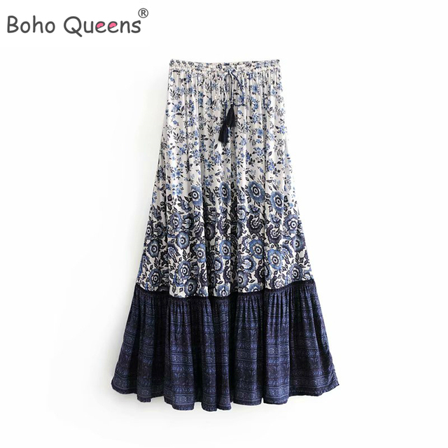 Boho Queens 패션 히피 여자 꽃 프린트 술 해변 보헤미안 스커트 고탄성 허리 Boho rayon Maxi skirt Femme