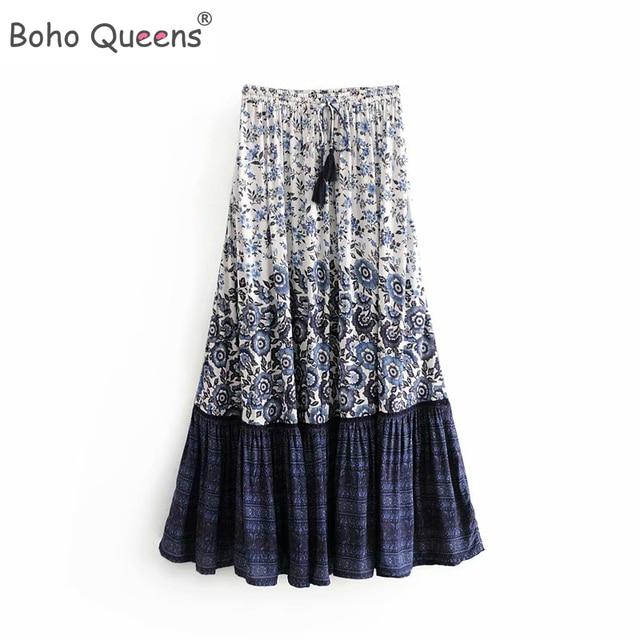 Vintage chic fashion Hippie women  floral print  tassel beach Bohemian skirt High Elastic Waist  Boho rayon Maxi Skirt Femme