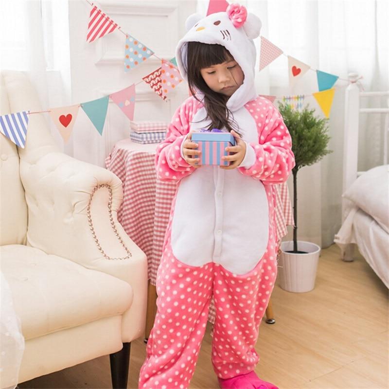 Pink Kitty Cat Animal Kugurumi Onesie Kids Sleepwear Homewear Warm Pajama Flannel Jumpsuit Cute Overalls Carnival Party Outfit