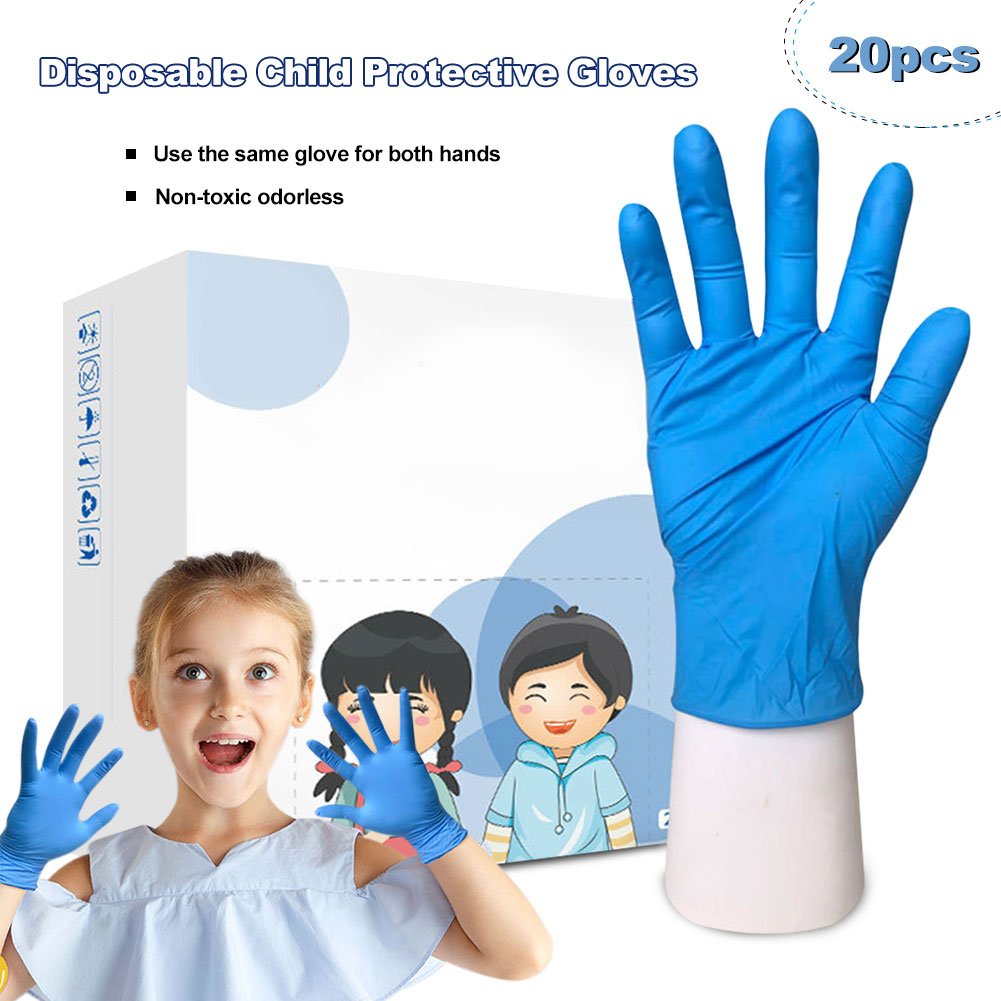20 Pcs Children's Blue Disposable Gloves Latex Medical Gloves Nitrile Protective Gloves Universal For Left And Right Hands Kids