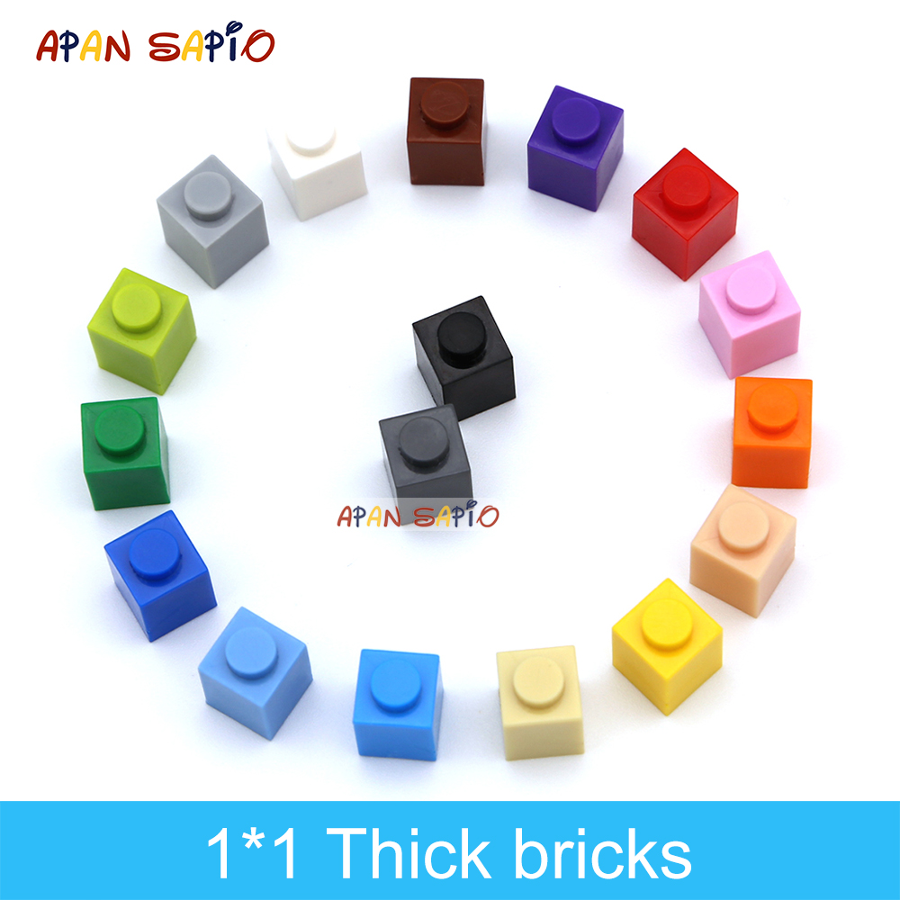 180pcs DIY Building Blocks Thick Figures Bricks 1x1 Dots Educational Creative Compatible With 3005 Plastic Toys for Children