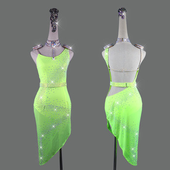 Shiny Rhinestone Latin Dance Dresses For Women Backless Sexy Lace Club Party Dancer Singer Entertainer Fluorescent Green Dress