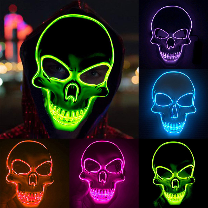 Halloween Mask LED Maske Light Up Party Masks Neon Maska Cosplay Mascara Horror Mascarillas Glow In Dark Masque Luminous Toy