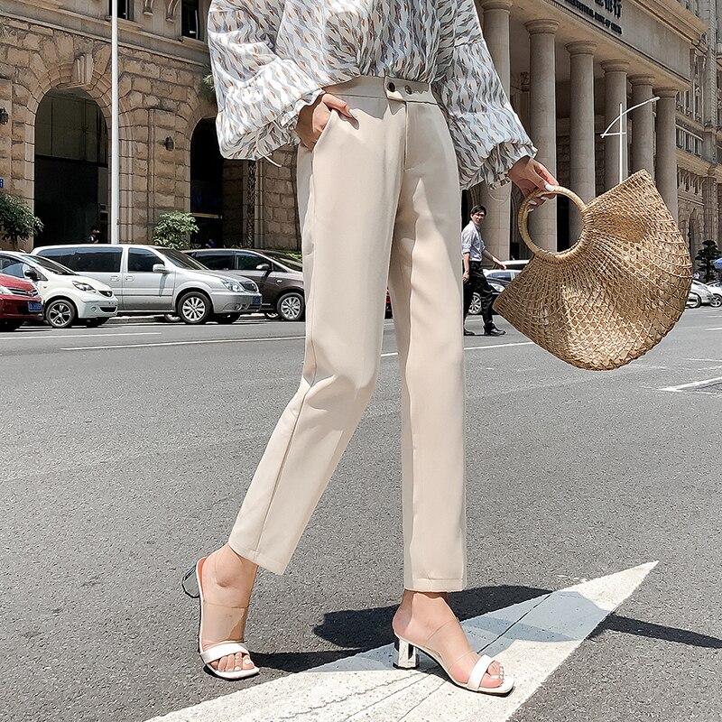 White Black Suit Pants Women High Waist Pants Pockets Office Pants Fashion Spring Autumn Women Bottoms