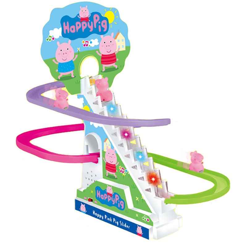 Train Climb Stairs Track Toy Children's Classic Track Toys Cartoon Pig Climb Stairs Electric Music Track Toys Birthday Gift