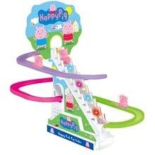 Поезд подъем по ступенькам трек игрушка Детская Классическая дорожка игрушки мультфильм свинья подъем по ступенькам Электрический музыкальный трек игрушки подарок на день рождения