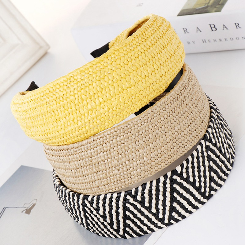 Bohemian Hand-woven Lafite Grass Hairband Summer Straw Weaving Knotted Headband For Women Cross Hair Hoop Hair Accessories