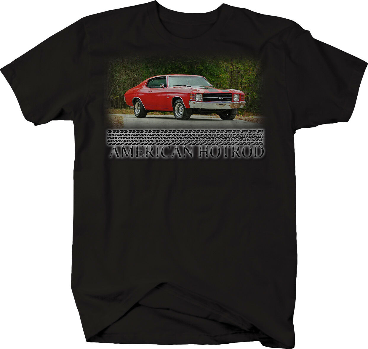 American Hotrod Chevy Chevelle SS Red <font><b>V8</b></font> 70's Muscle <font><b>Tshirt</b></font> image
