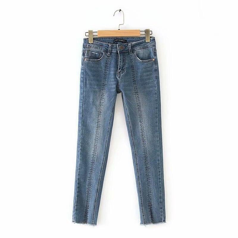 C3 #2019 Summer New Style Western Style Slit Decoration Tight Slim Fit Medium Waist Jeans