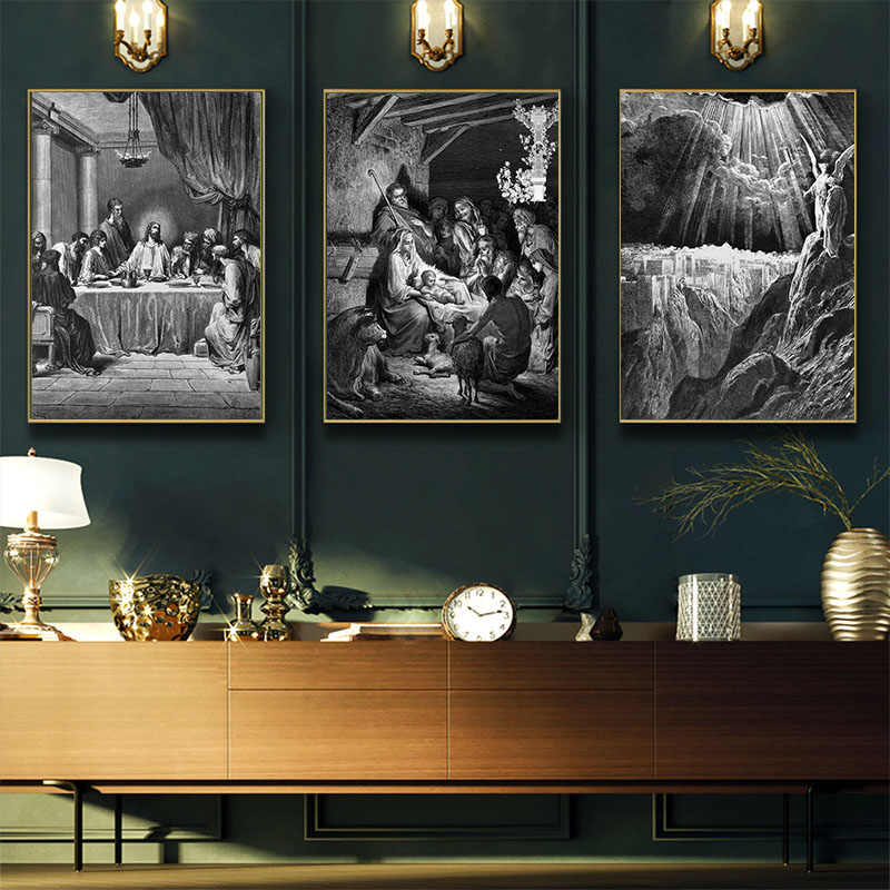 Da Vinci Last Supper Wall Art Canvas Painting White and Black Cuadros Jesus Christ Print On Canvas Wall Pictures For Living Room