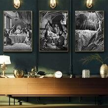 Da Vinci Son Akşam Yemeği duvar sanatı tuval yağlıboya Beyaz ve Siyah Cuadros İsa Mesih Baskı Tuval Duvar Resimleri Için Oturma Odası
