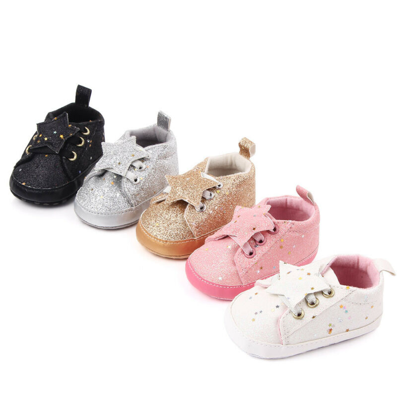 Newborn Baby Girls Boys Adorable Shoes Bling Anti-slip Soft Shoes Leather Sneakers Prewalker Fashion First Walkers 0-18Months