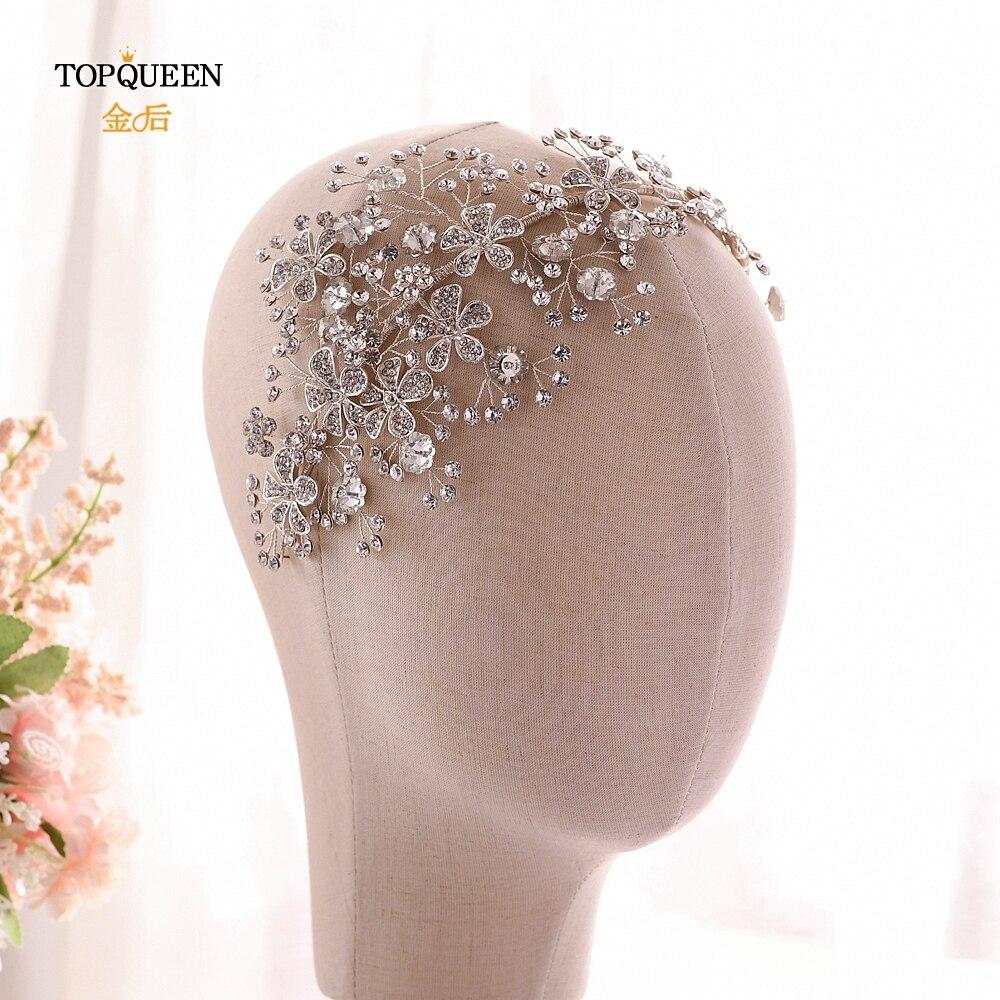 TOPQUEEN Luxury Wedding Headband Stunning Party Hair Jewelry Wedding Crown Floralheadpieces Bridal Tiara For Wedding HP273