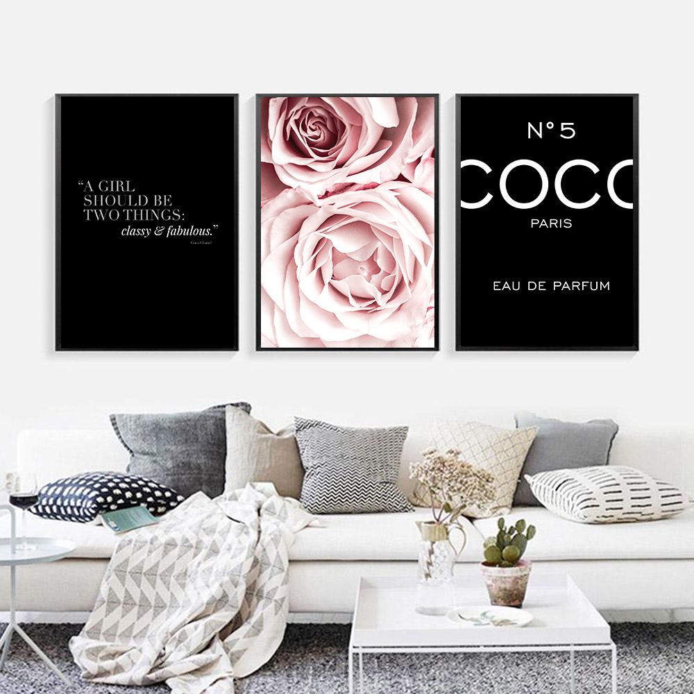 Pink Flower Building Fashion Lady Poster Black Paris Makeup Print Canvas Art Painting Wall Pictures Modern Girl Room Home Decor