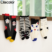 Cotton Polka Dot Women Socks 2019 Autumn Winter Midi Striped Cartoon Casual Print Sock for Girls Harajuku Female