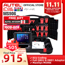 Autel maxisys ms906 ferramenta de diagnóstico automático obd2 scanner automotivo chave codificação obd 2 ecu testador programador chave pk ms906bt ms906ts
