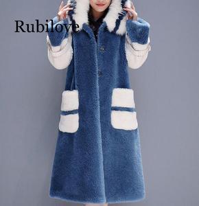Image 3 - Delle donne 2020 di Inverno collo di Pelliccia di Volpe Con Cappuccio Faux Cappotto di Pelliccia Femminile Naturale Tosatura Delle Pecore Lungo Cappotto Giacca di Lana