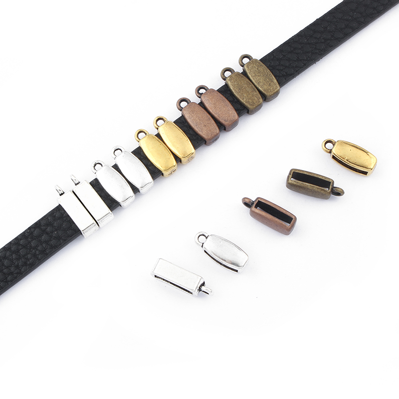 20pcs Gold/Bronze/Silver Color Flat Charms Holder Bail Slider Spacers 10x2mm For 5mm 10mm Flat Leather Cord Bracelet Findings