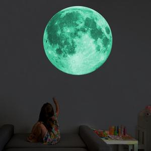 30CM 3D Luminous Moon Wall Sticker For Kids Room Glow In The Dark Wall Stickers Living Bedroom Room Decoration Home Decal(China)