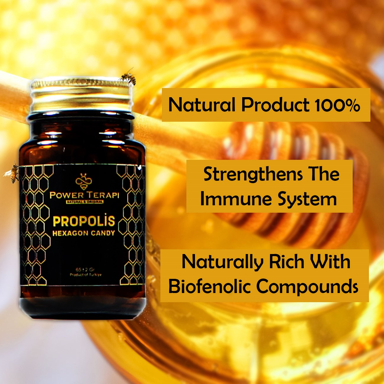 Propolis Hexagon Candy Strengthens The Immune System Natural Herbal Product Honey Health