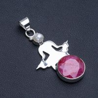Natural Cherry Ruby and River Pearl Boho Style 925 Sterling Silver Pendant Necklace 2 R1085