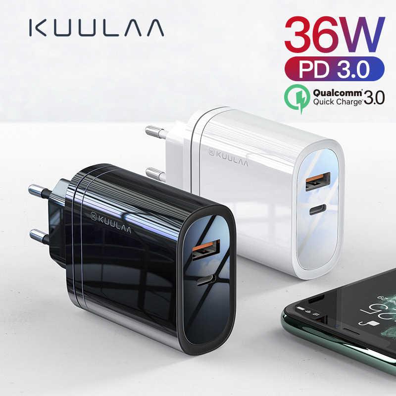 KUULAA سريعة تهمة 4.0 3.0 36W شاحن يو اس بي PD 3.0 أدائنا سريع شحن الهاتف شاحن هواتف xiaomi mi 9 8 فون X XR XS ماكس