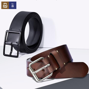 Image 1 - Youpin Qimian Men Belt Male Genuine Leather Strap Vegetable tanned Cowhide Belt For Men 3.8CM High Quality Pin Buckle Waist Belt