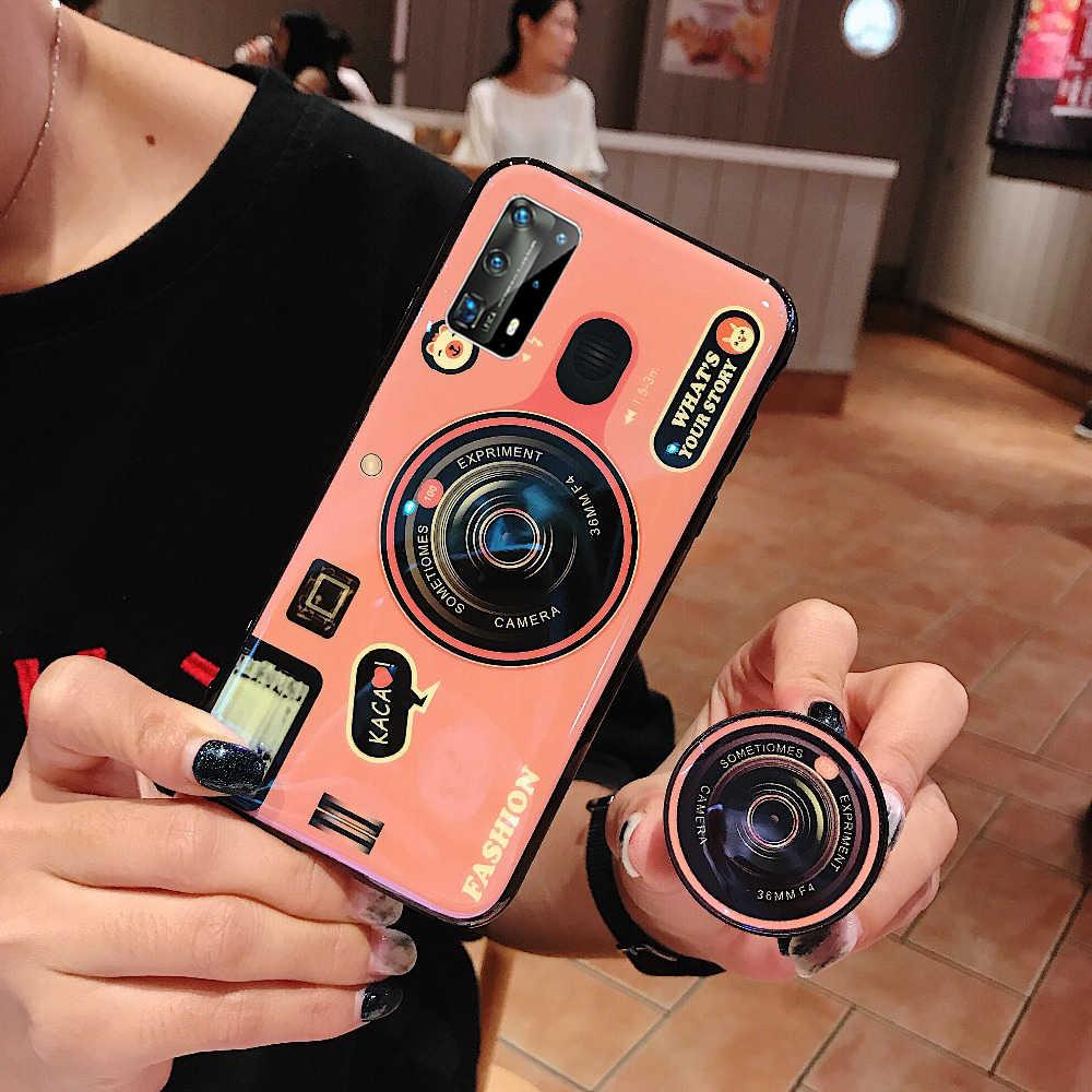 Untuk Huawei P40 PRO Retro 3D Kamera Lembut Silicone Ponsel Case dengan Pemegang untuk Huawei P40 P30 P20 P10 Fashion TPU Back Cover
