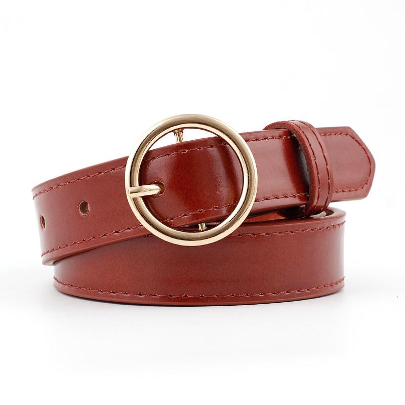 Top Belt Punk Harajuku Strap Exaggerated Big Round Buckle Gold For Women Dress Clothes Adjustable Belt Simple Design Belt