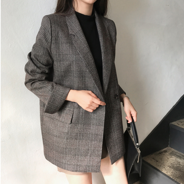 Colorfaith New 2019 Autumn Winter Womens Blazers Plaid Double Breasted Pockets Formal Jackets Notched Outerwear Tops JK7113