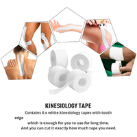 10 Pack Athletic Tape in White Cotton Sport Tape Adhesive Elastic Bandage Knee Wrist Ankles Muscle Support- Easy Tearing