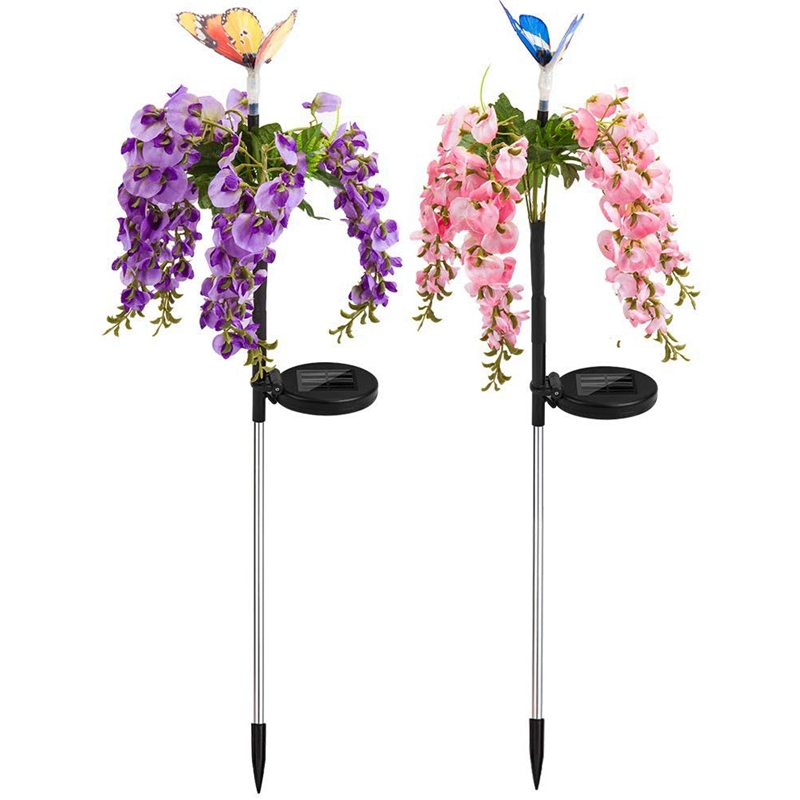 2 Pcs Solar Garden Lights Outdoor Christmas Butterfly LED Solar Powered Landscape Lights For Pathway Yard Patio Deck Walkway Dec