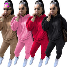 Tracksuits Casual Plush Warm Fluffy Suits Women's Long Sleeve Hooded Sweatsuit Hoodie and Bodycon Jogger Sporty Home 2 Piece Set