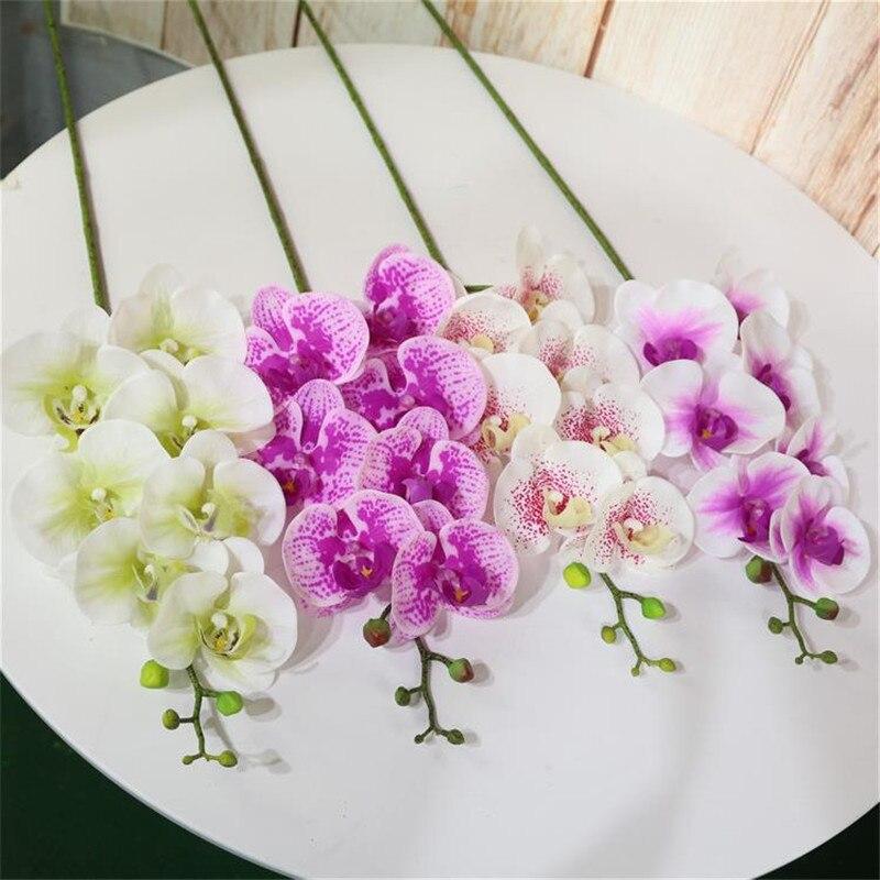 Реальная на ощупь орхидеи бабочка искусственный фаленопсис латекс Орхидея Цимбидиум цветы для свадебных декораций, 10 Цвета